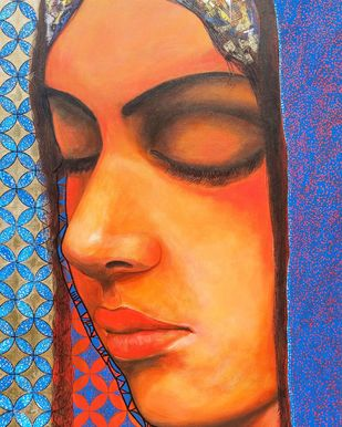 Rumination by Dilawar Khan, Expressionism Painting, Acrylic on Canvas, Chambray color
