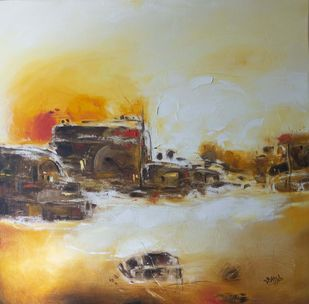 abstact -17 by Atul Virkar, Abstract Painting, Oil on Canvas, Beige color
