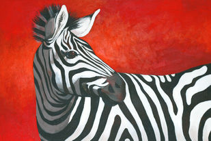 Zebra 2 by Vijay Shelwante, Expressionism Painting, Acrylic on Canvas, Red color