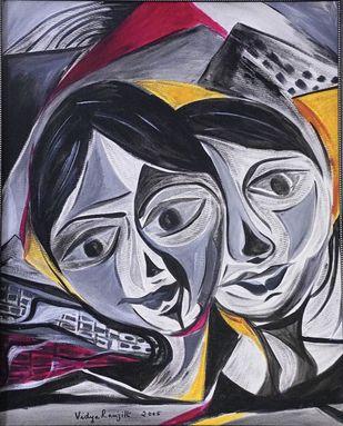 Ambivalent by Vidya Ranjith, Expressionism Painting, Acrylic on Canvas,