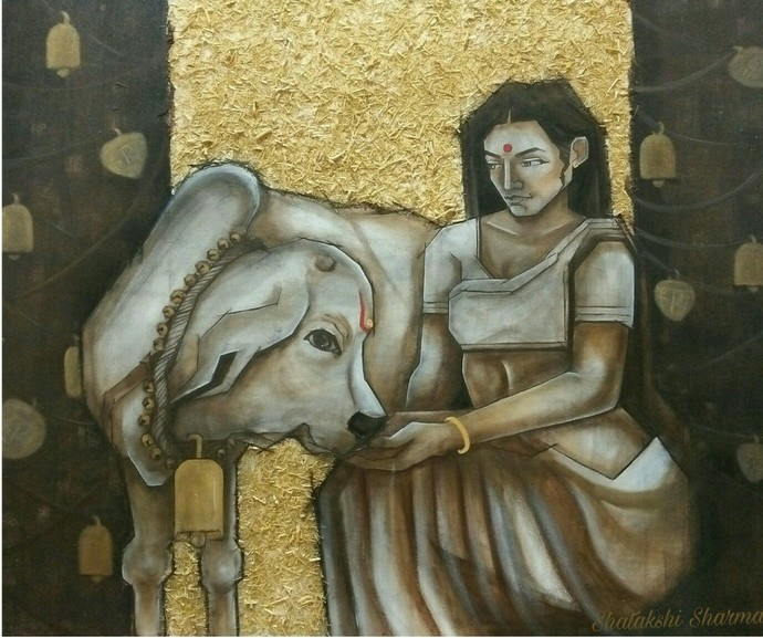Untitled by Shatakshi Sharma , Traditional Painting, Acrylic on Canvas, Green color