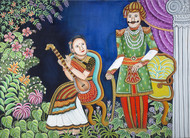 Company Period by Nayanaa Kanodia, Naive Painting, Oil on Canvas, Red color