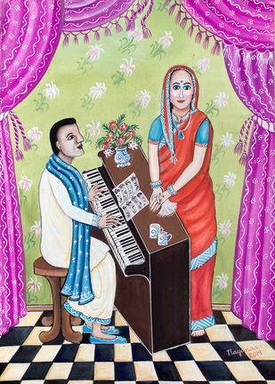 Intimate Moments To be Treasured by Nayanaa Kanodia, Naive Painting, Mixed Media on Paper, Blue color