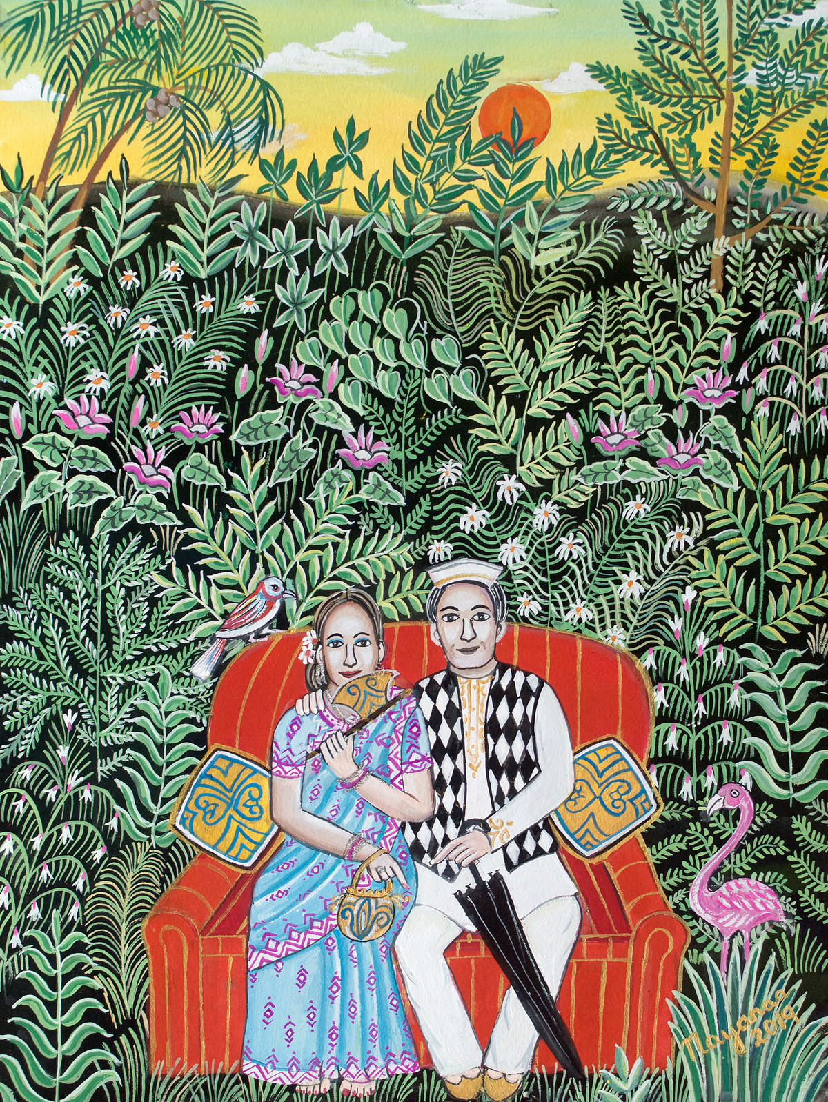 Romance In The Jungle by Nayanaa Kanodia, Naive Painting, Mixed Media on Paper, Red color