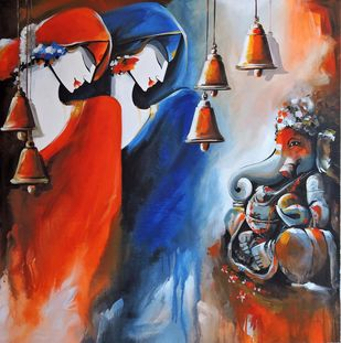love of god by pradeesh k raman, Expressionism Painting, Acrylic on Canvas, Brown color