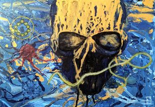 The Golden Microorganisms by Arvind A, Expressionism Painting, Acrylic on Canvas, Blue color