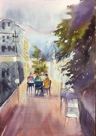 Untitled by Dipankar Biswas, Impressionism Painting, Watercolor on Paper, Brown color