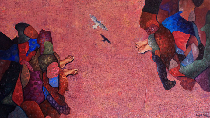 Conversation by Sangeeta Singh, Fantasy Painting, Oil & Acrylic on Canvas, Red color