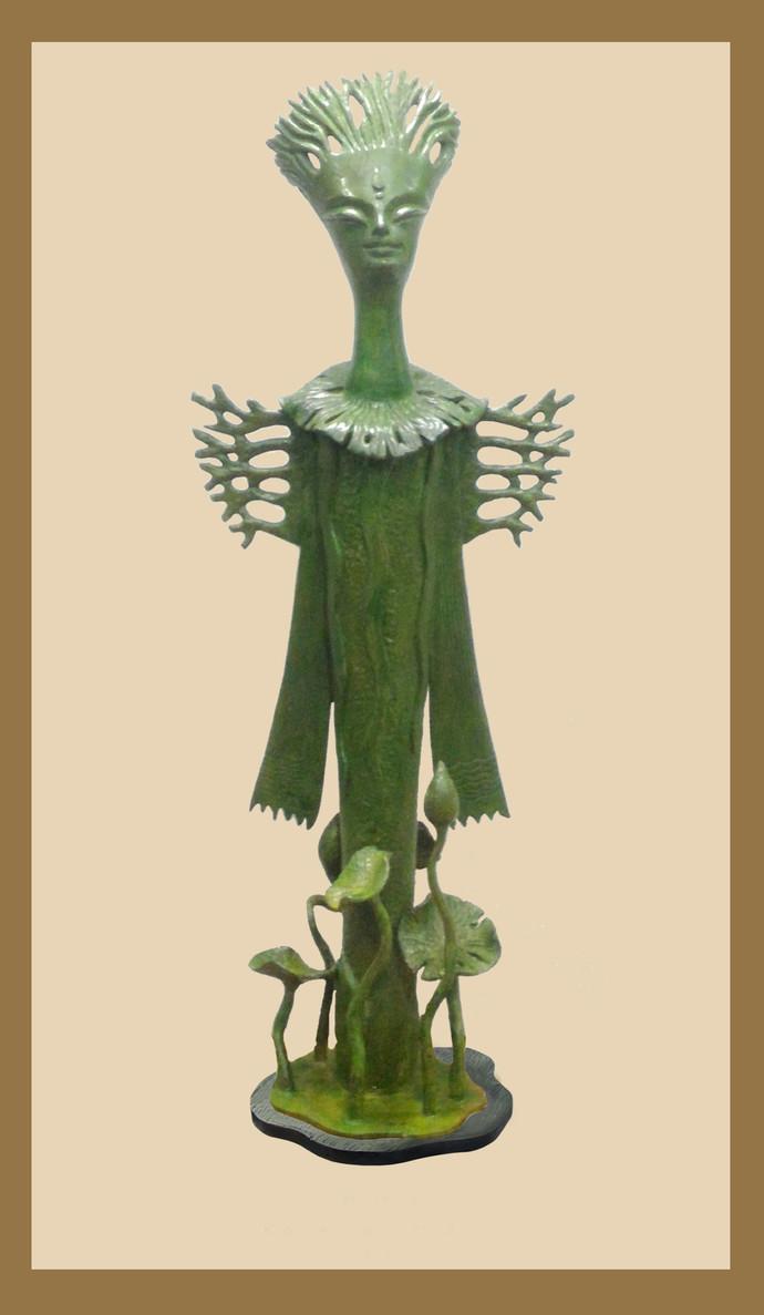 DURGA by Subrata Paul, Art Deco Sculpture   3D, Bronze, Beige color