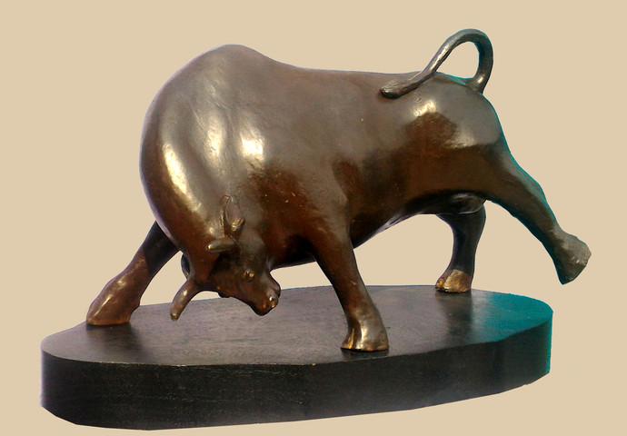 POWER by Subrata Paul, Art Deco Sculpture | 3D, Bronze, Beige color