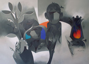 worship-21 by RANJIT SINGH KURMI, Expressionism Painting, Acrylic on Canvas, Brown color