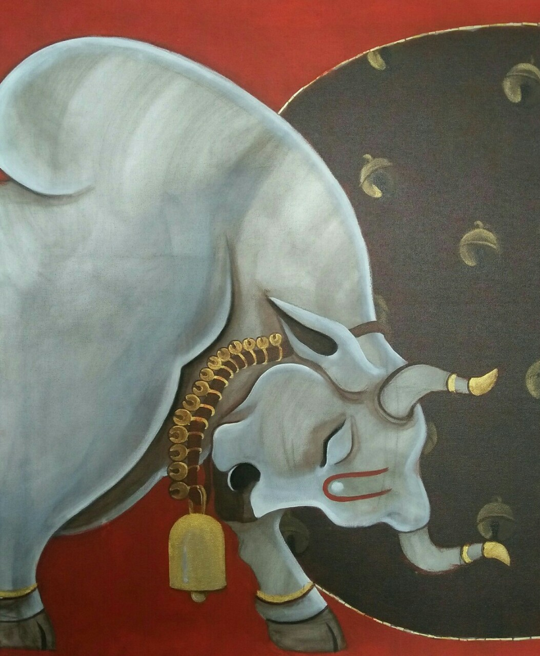 Bull by Shatakshi Sharma , Expressionism Painting, Acrylic on Canvas, Brown color