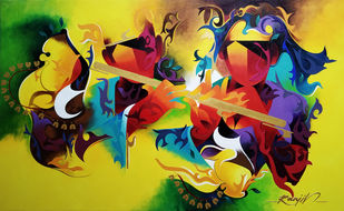 joy of music-23 by RANJIT SINGH KURMI, Expressionism Painting, Acrylic on Canvas, Green color