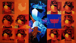 joy of music-22 by RANJIT SINGH KURMI, Expressionism Painting, Acrylic on Canvas, Red color