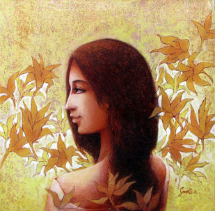 Lady with Nature by Sanjiv Gogoi, Expressionism Painting, Acrylic on Canvas, Beige color