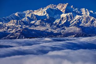 Kanchenjungha by Saify Akolawala, Image Photography, Digital Print on Archival Paper, Blue color