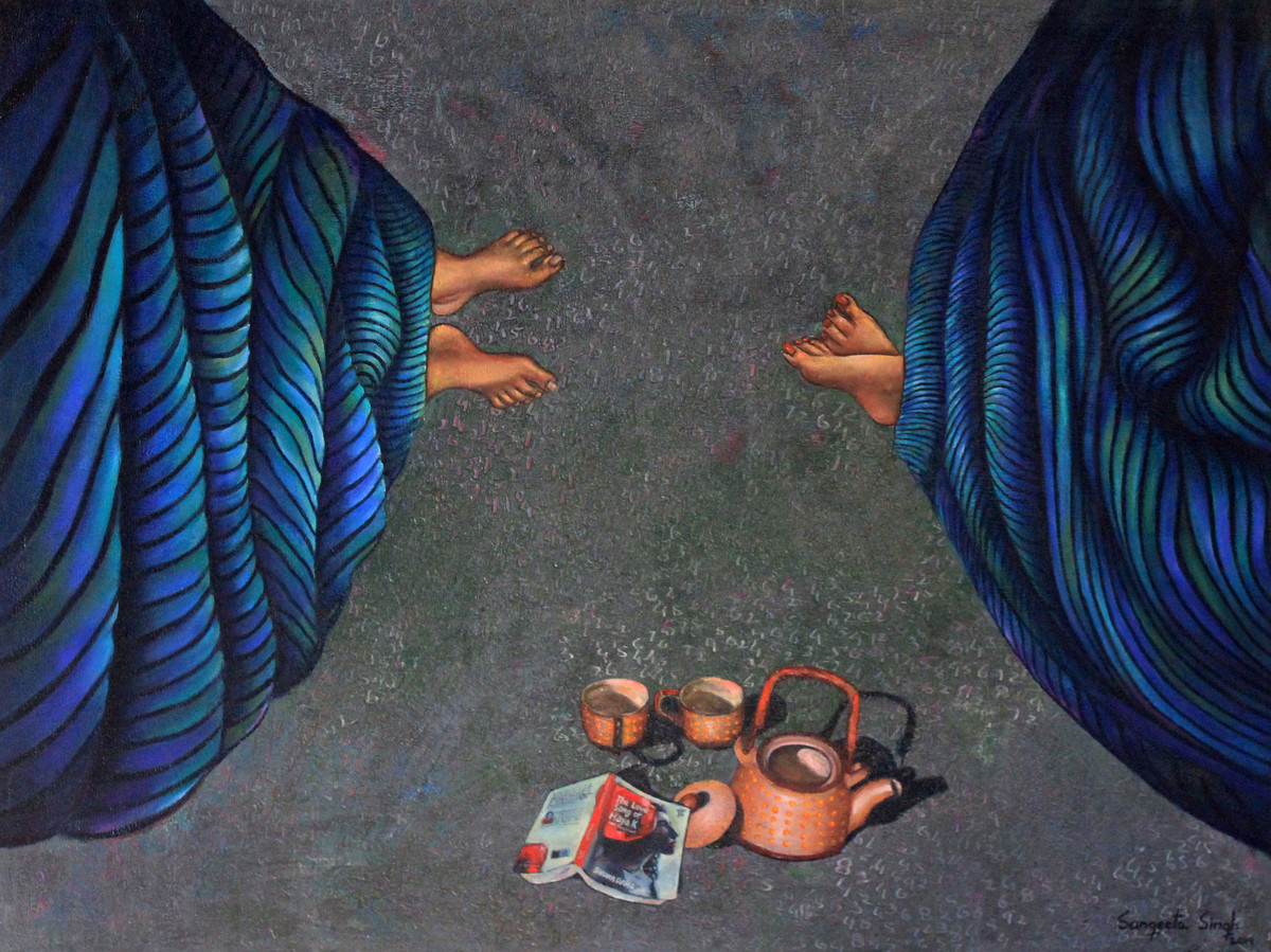 Conversation by Sangeeta Singh, Expressionism Painting, Oil & Acrylic on Canvas, Blue color