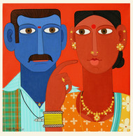 Couple -4 by Kandi Narsimlu, Expressionism Painting, Acrylic on Canvas, Red color