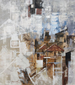 the city 14 by A.R.Ramesh, Abstract Painting, Acrylic on Canvas, Gray color
