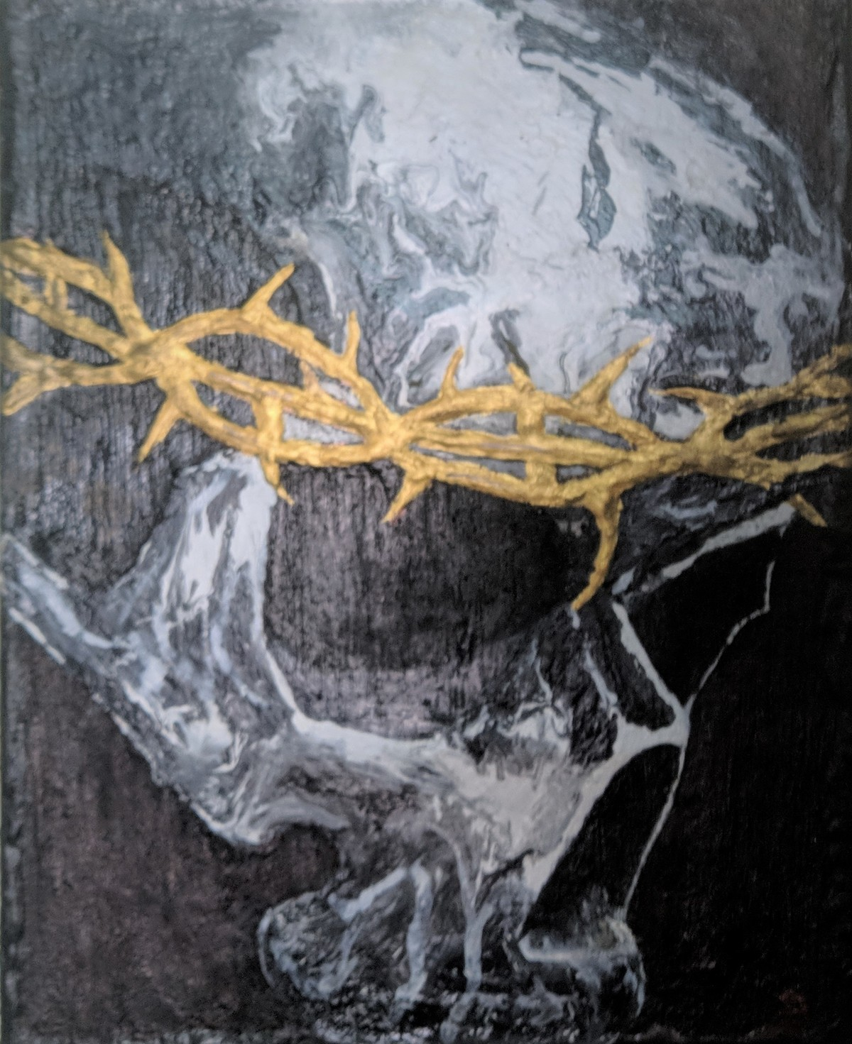The Golden thorn Crown by Arvind A, Expressionism Painting, Acrylic on Canvas, Gray color