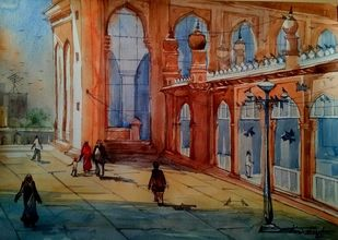 Macca Masjid series by Krishnendu Halder, Impressionism Painting, Watercolor on Paper,