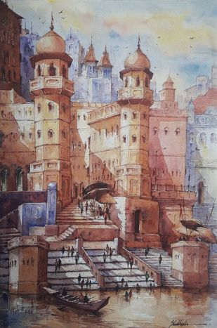 Benaras ghat-4 by Shubhashis Mandal, Impressionism Painting, Watercolor on Paper,