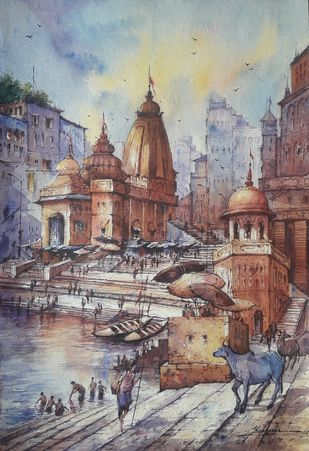 Varanasi ghats-5 by Shubhashis Mandal, Impressionism Painting, Watercolor on Paper,