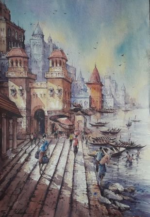 Varanasi ghat-6 by Shubhashis Mandal, Impressionism Painting, Watercolor on Paper,