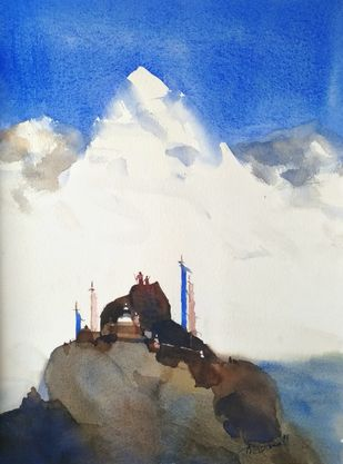 HE is beyond all mountains, paduan by Prashant Prabhu, Impressionism Painting, Watercolor on Paper, Gray color