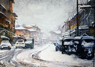 Winter in Kashmir by Masood Hussain, Impressionism Painting, Watercolor on Paper,