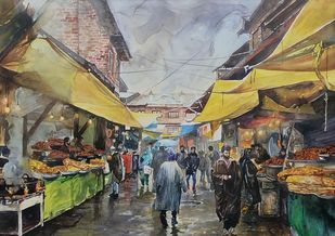 Hazratbal Market by Masood Hussain, Impressionism Painting, Watercolor on Paper,