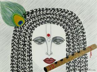 Krishna 1 by Kaamna Trehan, Illustration Drawing, Mixed Media on Paper,