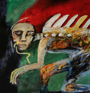 Man approaching by Gautam Das, Expressionism Painting, Acrylic on Paper,