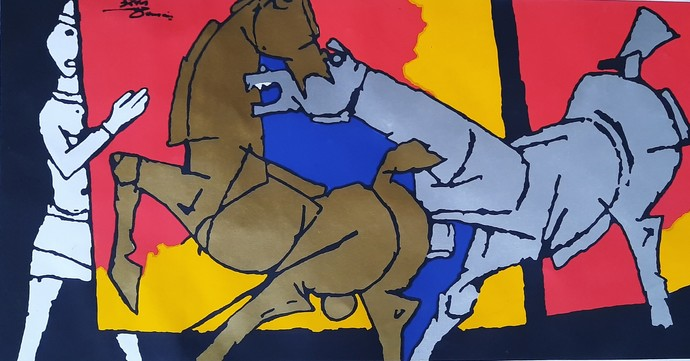 Lady with horse by M F Husain, Expressionism Serigraph, Etching & Serigraph,