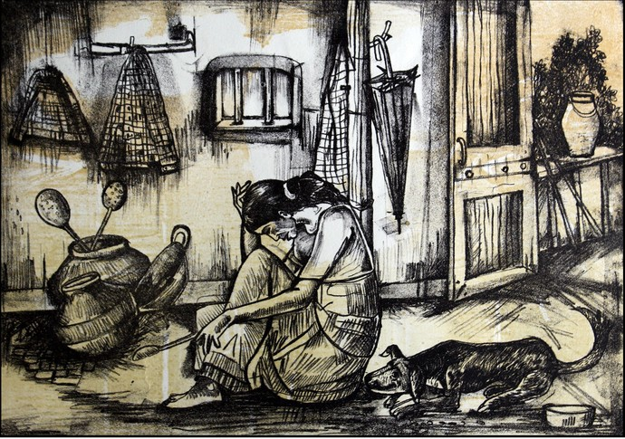 SILENT PAIN IN HUNGER by RITIKA DHINGRA, Expressionism Printmaking, Lithography on Paper,