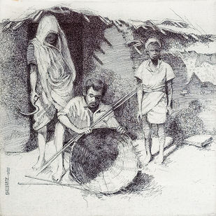 Landscape by Vijay Shelwante, Illustration Painting, Pen on Canvas,