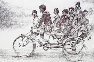 Ride - e - family by Vijay Shelwante, Illustration Drawing, Pen on Canvas,