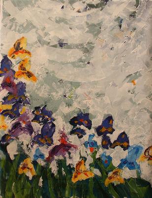 Iris by Mahvash Masood, Abstract Painting, Acrylic on Canvas,