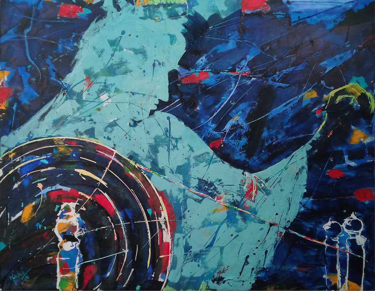 Spinning Hope by Mahvash Masood, Abstract Painting, Acrylic on Canvas,