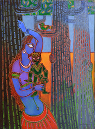 I am not lonely by Santanu Nandan Dinda, Expressionism Painting, Acrylic on Canvas,