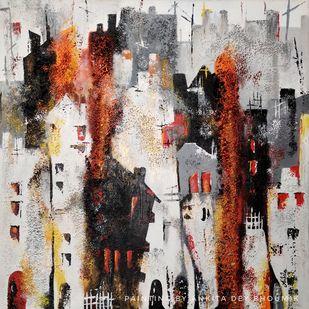 Urban Jungle - Abstract Mixed Media by Ankita Dey Bhoumik, Abstract Painting, Acrylic on Canvas,