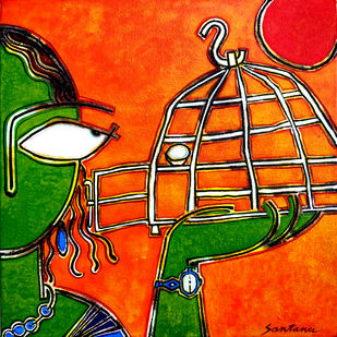Freedom 1 by Santanu Nandan Dinda, Expressionism Painting, Acrylic on Canvas,