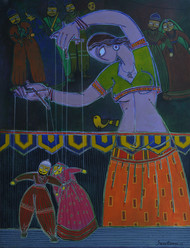 We are Puppets on Earth by Santanu Nandan Dinda, Expressionism Painting, Acrylic on Canvas,