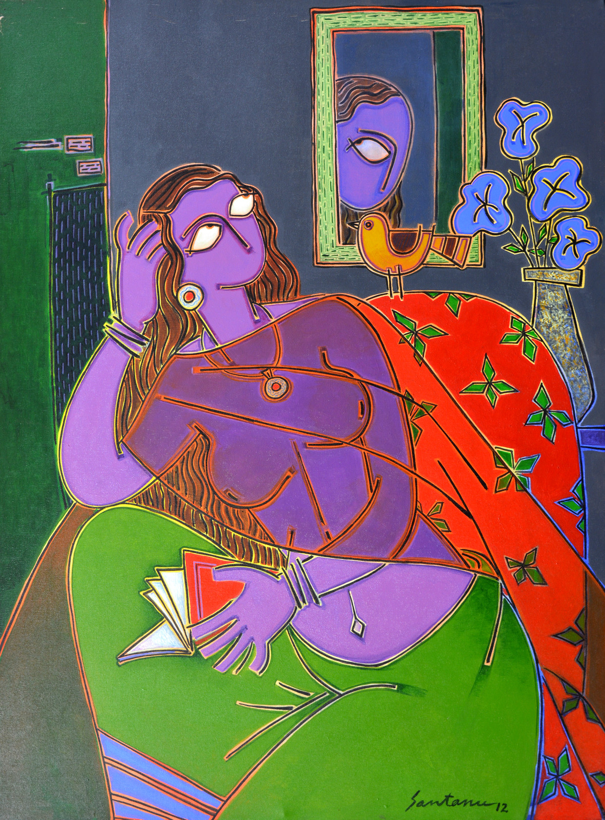 Lady on a red chair by Santanu Nandan Dinda, Expressionism Painting, Acrylic on Canvas,