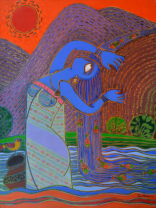 Transformation into water-fall by Santanu Nandan Dinda, Expressionism Painting, Acrylic on Canvas,