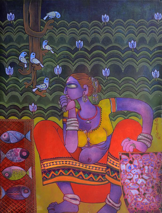 Fish seller Digital Print by Sunita Dinda,Traditional