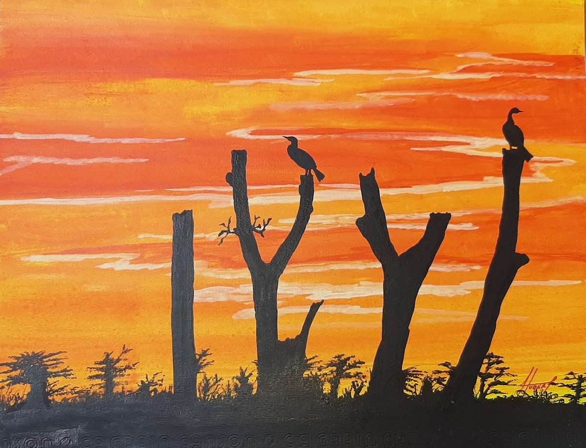 Cormorants at Dusk by Hubert Francis DMoss, Expressionism Painting, Acrylic & Ink on Paper, Dune color