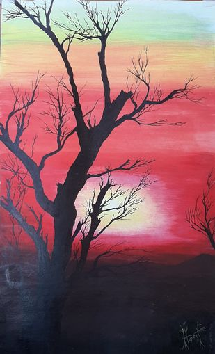 Tree's in the Sunset by Hubert Francis DMoss, Impressionism Painting, Acrylic & Ink on Paper, Cinnamon Satin color