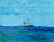 Sail-Boat by Hubert Francis DMoss, Expressionism Painting, Acrylic & Ink on Paper, Viking color