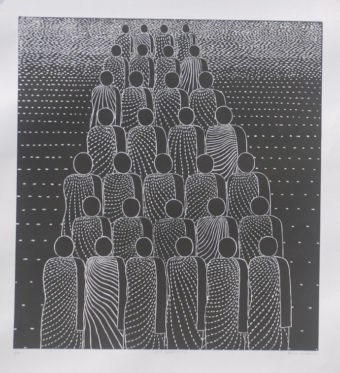 Lost Identity by Hemavathy Guha, Expressionism Printmaking, Wood Cut on Paper, Black color